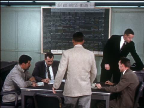 vídeos de stock e filmes b-roll de medium shot five men in suits sitting under chalkboard in meeting - sentar se