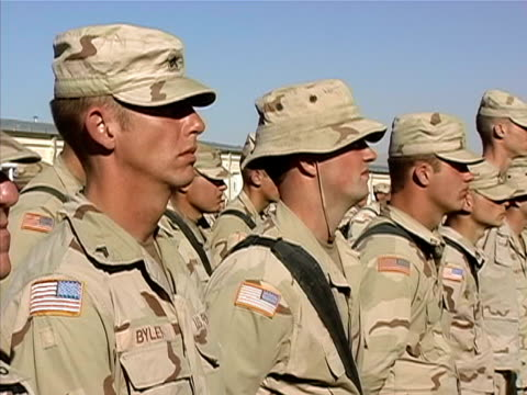 medium shot general speaking to soldiers on us military base/ afghanistan - operation enduring freedom stock videos & royalty-free footage