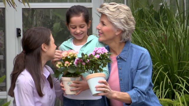 medium shot girl holding potted flower outside greenhouse with mother and grandmother/ san antonio, texas, usa - three people stock videos & royalty-free footage