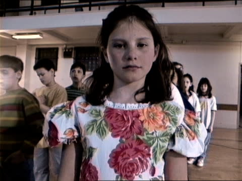 medium shot girl in line in gym glass/ zoom in close up girl looking distraught/ new york city - 1994 stock videos and b-roll footage