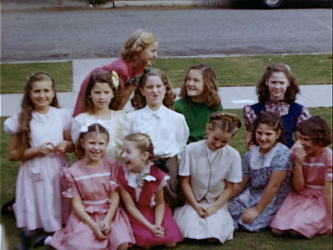1949 medium shot group of girls sitting and posing during birthday party / los angeles, california, usa  - only girls stock videos and b-roll footage