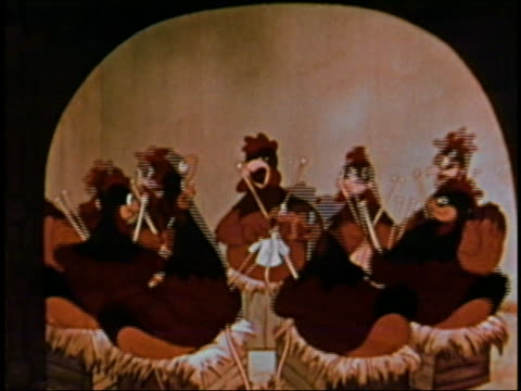 animation medium shot group of hens sitting in a circle singing and knitting / audio - medium group of animals stock-videos und b-roll-filmmaterial