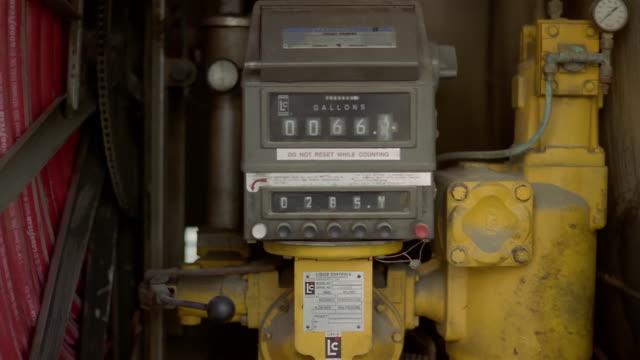 vídeos y material grabado en eventos de stock de medium shot heating oil meter ticking off gallons - medidor