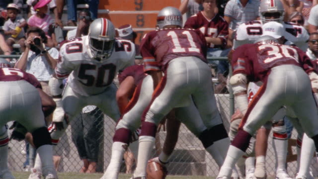 1985 Medium shot Jacksonville Bulls player Mike Rozier running with ball during game against Tampa Bay Bandits / Jacksonville, Florida, USA