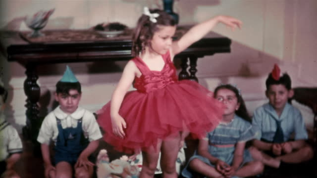 1938 medium shot little girl (stephanie mattersdorf) wearing red tutu and dancing with children in background - ballet dancer stock videos & royalty-free footage