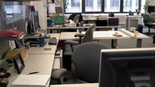Medium shot lockdown empty chairs at desks in office