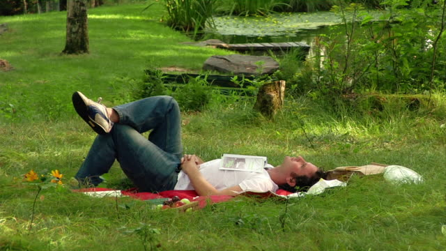 medium shot man lying on his back on the grass / map resting on his chest - lying on back stock videos & royalty-free footage