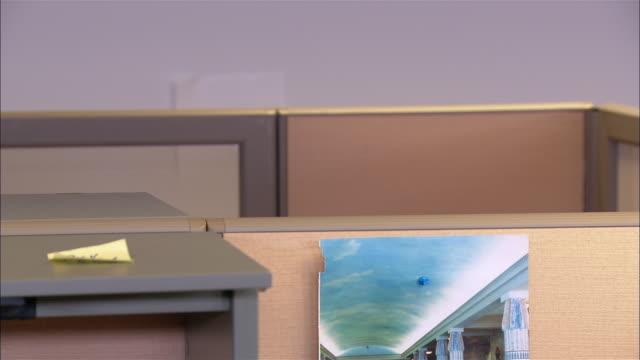 vídeos de stock e filmes b-roll de medium shot man peeking over cubicle wall / getting caught and sitting back down - sentar se