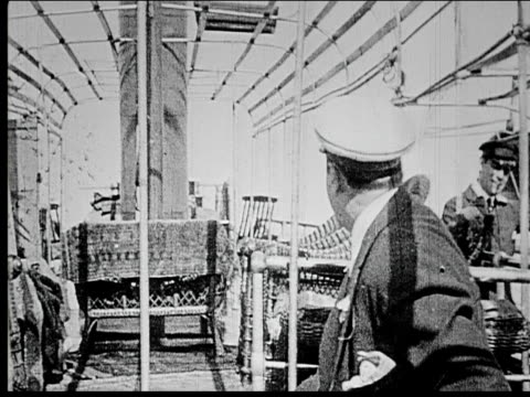 1914 b/w medium shot man talking to old sailor and captain on ship deck - 1914 stock videos & royalty-free footage