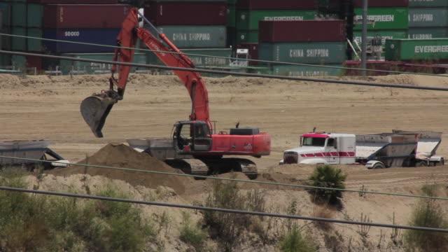 Medium Shot of a backhoe at the Port of Los Angeles
