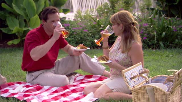Medium shot of a couple enjoying a picnic.