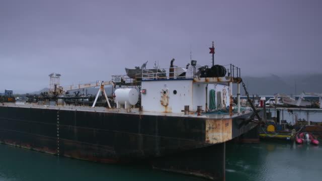 medium shot of a docked cargo ship - 海洋性の鳥点の映像素材/bロール