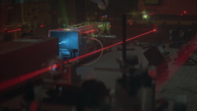 Medium shot of a hand adjusting a laser beam.
