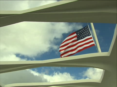 medium shot of a pan up of the inside of the uss arizona memorial during the pearl harbor 70th anniversary memorial event on december 7th, 2011. the... - 軍事基地点の映像素材/bロール
