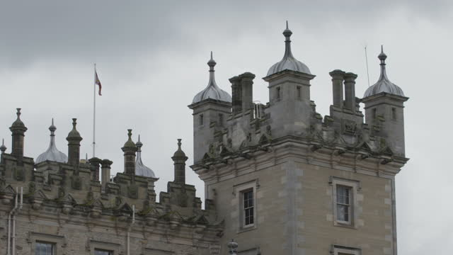 medium shot of a turret of floors castle - stone object stock videos & royalty-free footage