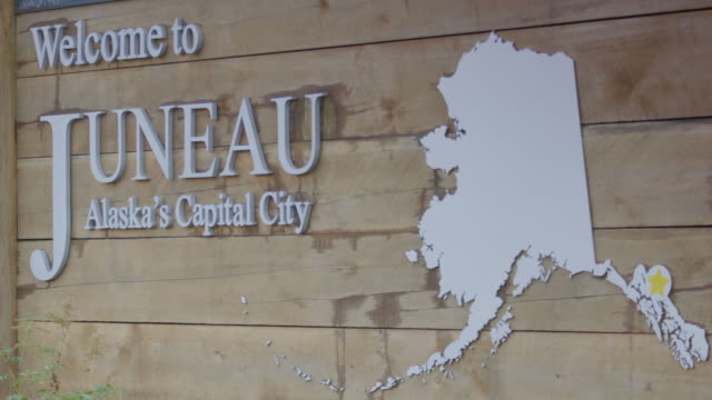 medium shot of a welcome sign of juneau - juneau stock videos and b-roll footage