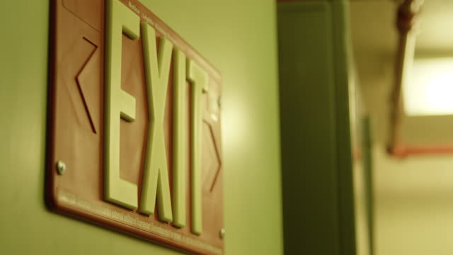 medium shot of an exit sign at nevada test site - exit sign stock videos & royalty-free footage