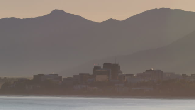 medium shot of anchorage cityscape - anchorage alaska stock videos & royalty-free footage