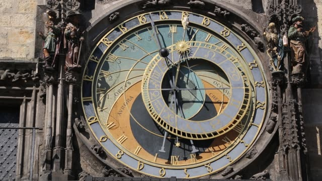 Medium Shot of Astronomical Clock in Prague