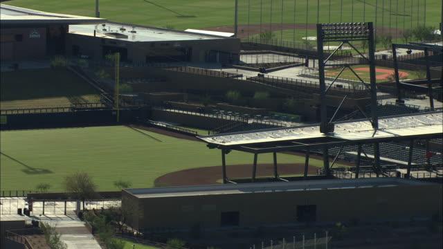 Medium shot of baseball fields