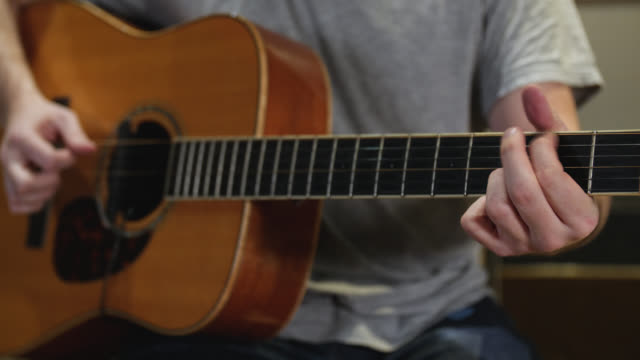 Medium shot of chords being finger picked on an acoustic guitar