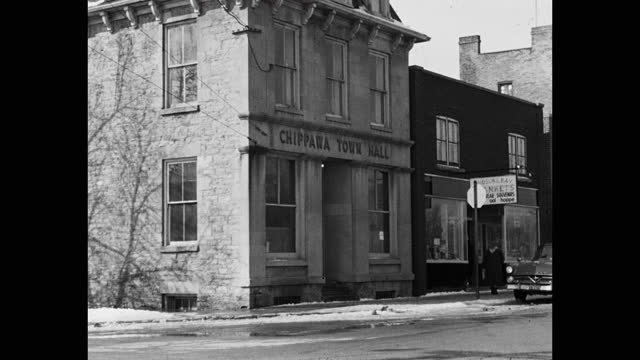 medium shot of exterior view of chippawa town hall, chippawa, ontario, canada - canadian politics stock videos & royalty-free footage