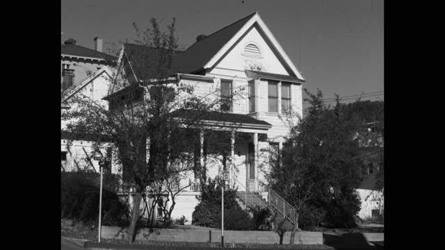 medium shot of exterior view of two-story house building, sonora, california, usa - 1965 stock videos & royalty-free footage