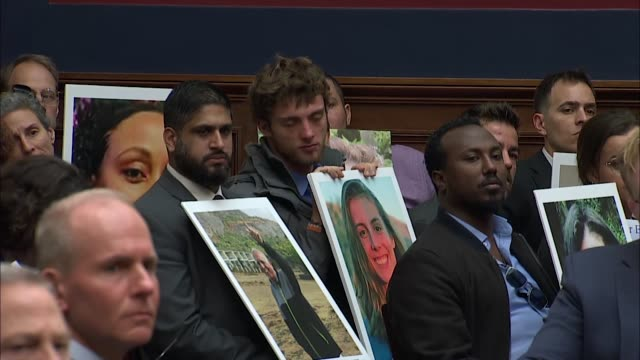 medium shot of family members of victims of crashes involving the boeing 737 max as west virginia congresswoman carol miller says at a house... - boeing stock videos & royalty-free footage
