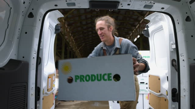medium shot of farmer putting freshly packed csa boxes into delivery van - independence stock videos & royalty-free footage