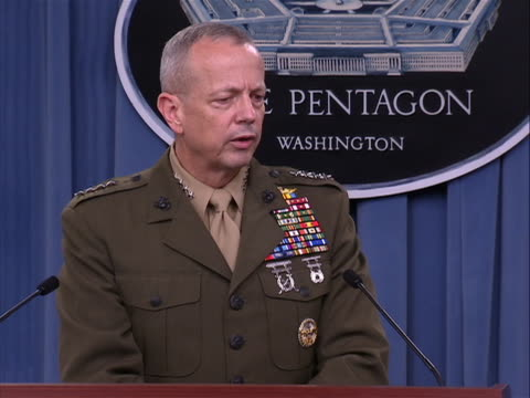 medium shot of general john allen, international security assistance force commander in pentagon briefing room transcript: we are moving to what... - international security assistance force stock videos & royalty-free footage