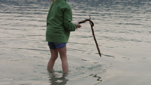 vídeos y material grabado en eventos de stock de medium shot of girl playing with stick in lake / redfish lake, idaho, united states - cabello recogido