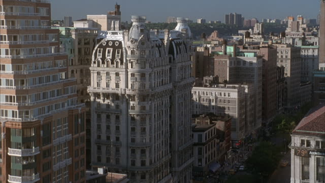 Medium shot of high-rise apartment buildings and the Ansonia Hotel in the upper west side of Manhattan.