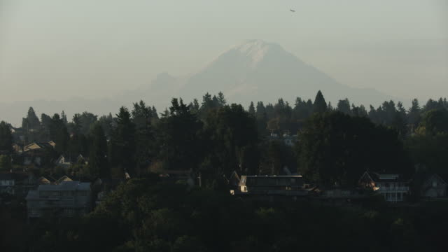 medium shot of houses in north admiral with the mount rainier in the background - suburban stock videos & royalty-free footage