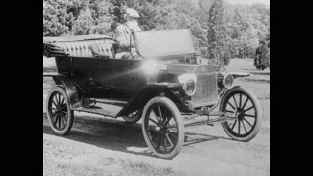 medium shot of john burroughs boarding and driving car on country road, usa - one senior man only stock videos & royalty-free footage