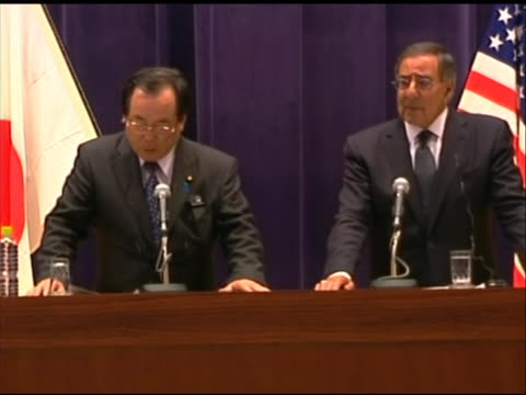 medium shot of leon panetta at a press conference with japanese minister of defense yasuo ichikawa. this meeting took place in tokyo during panetta's... - united states and (politics or government)点の映像素材/bロール