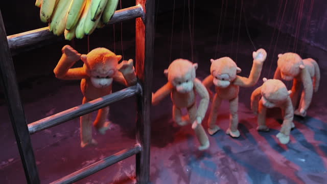 medium shot of monkey puppets dancing and trying to catch bananas hanging on wooden ladder during puppet show - puppet stock videos & royalty-free footage