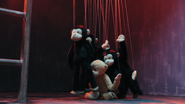 medium shot of monkey puppets dancing during puppet show - puppet stock videos & royalty-free footage