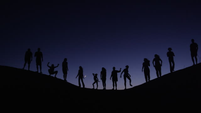 stockvideo's en b-roll-footage met medium shot of people silhouetted on hill against night sky / lake powell, utah, united states - powellmeer