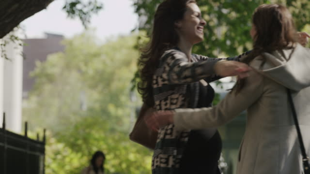 medium shot of pregnant woman greeting friend in park / new york city, new york, united states - amicizia tra donne video stock e b–roll