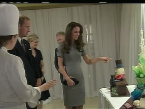 medium shot of prince william and kate middleton looking at chocolate sculptures in montreal, shortly before participating in a cooking workshop. the... - healthcare and medicine or illness or food and drink or fitness or exercise or wellbeing stock videos & royalty-free footage