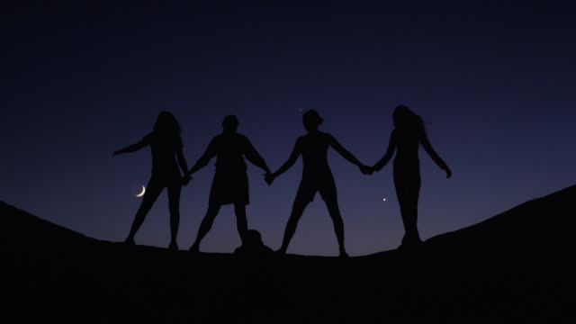 medium shot of silhouetted friends holding hands on hill against night sky / lake powell, utah, united states - lake powell stock-videos und b-roll-filmmaterial
