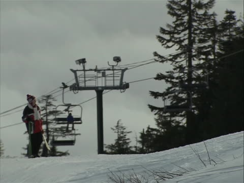 medium shot of ski lifts on grouse mountain in vancouver canada vancouver is a coastal seaport city on the mainland of british columbia canada it is... - environment or natural disaster or climate change or earthquake or hurricane or extreme weather or oil spill or volcano or tornado or flooding stock videos & royalty-free footage