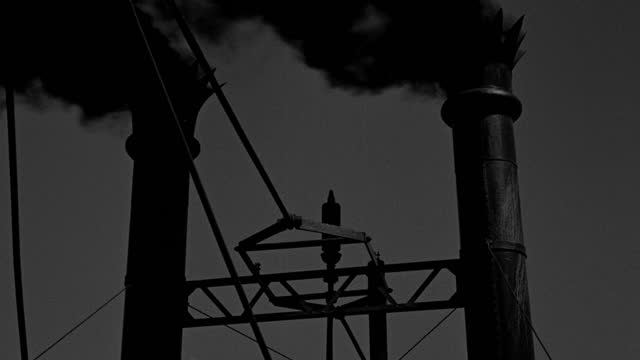 medium shot of smoke and steam blowing from smokestack and whistle of steamboat - 1933 stock videos & royalty-free footage