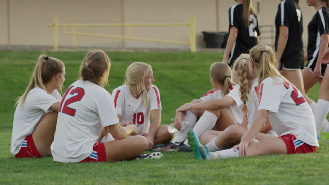 medium shot of soccer team watching opponents leaving / springville, utah, united states - springville utah stock videos & royalty-free footage
