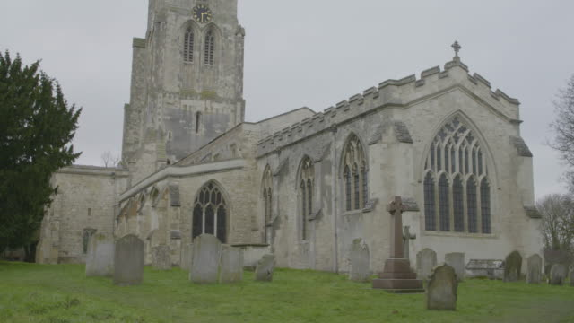 medium shot of the church of st mary the virgin in ashwell - ornate stock videos & royalty-free footage