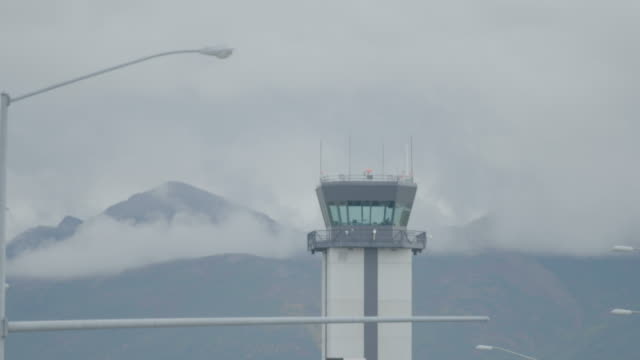 medium shot of the control tower of merrill field airport - anchorage alaska stock videos and b-roll footage