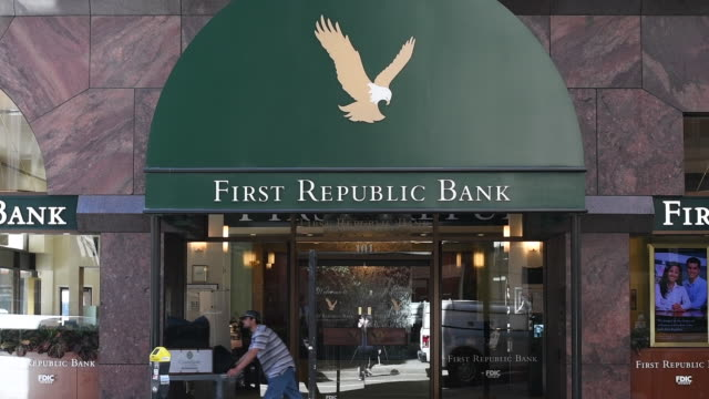 Medium shot of the entrance to First Republic Bank in San Francisco California on Friday March 31 2017