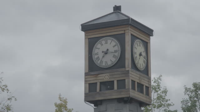 medium shot of the fairbanks rotary 50th anniversary clock and carillon - clock tower stock videos & royalty-free footage