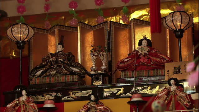 Medium shot of the Hina Matsuri Dolls, the prince and the princess dolls.