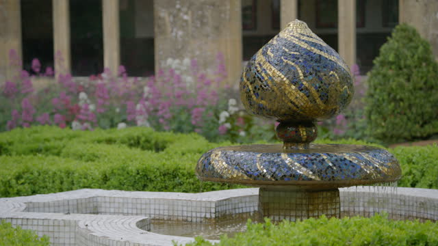 medium shot of the mosaic fountain in the knot garden at sudeley castle - british royalty stock videos & royalty-free footage